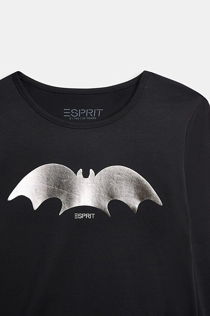 Long sleeve top with a shiny bat print, BLACK, detail image number 2