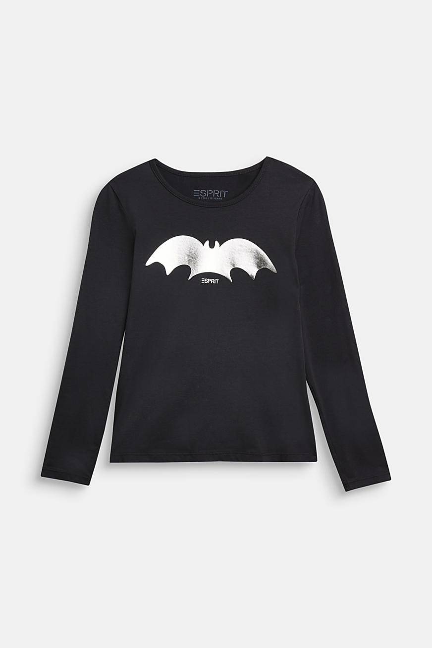 Long sleeve top with a shiny bat print