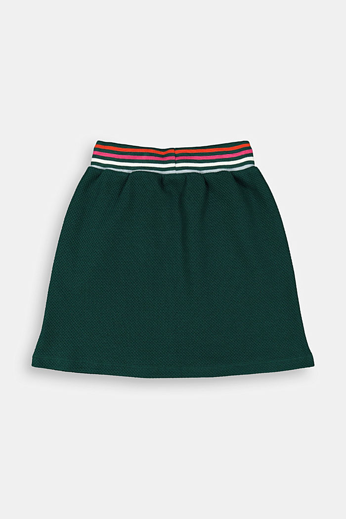 Textured jersey skirt with a striped waistband