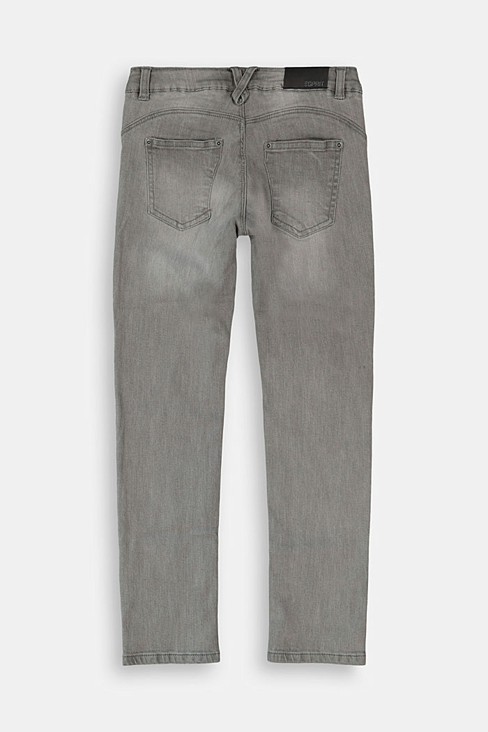 Stretchjeans met knoopsluiting en verstelbare band, GREY DARK WASHED, detail image number 1