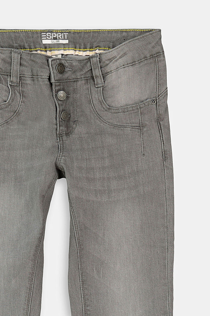 Stretchjeans met knoopsluiting en verstelbare band, GREY DARK WASHED, detail image number 2