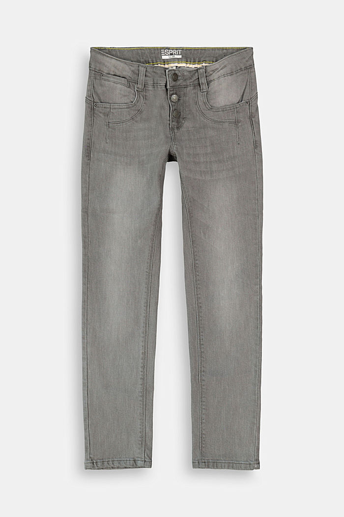Stretchjeans met knoopsluiting en verstelbare band, GREY DARK WASHED, detail image number 0