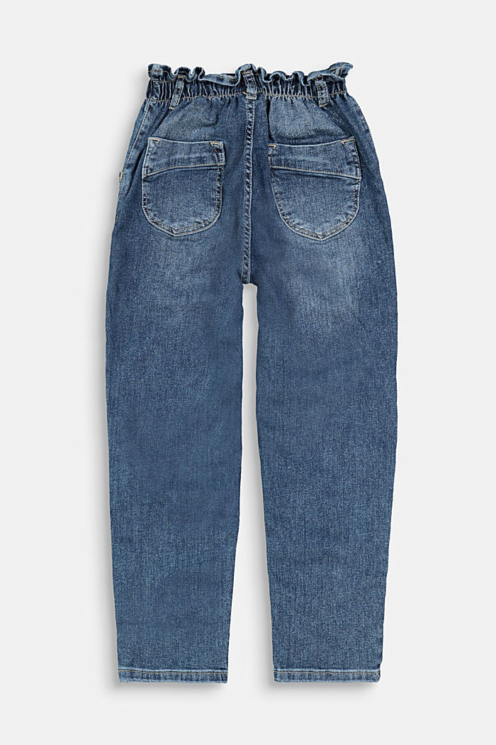 Jeans with an elasticated paperbag waistband, BLUE DARK WASHED, detail image number 1