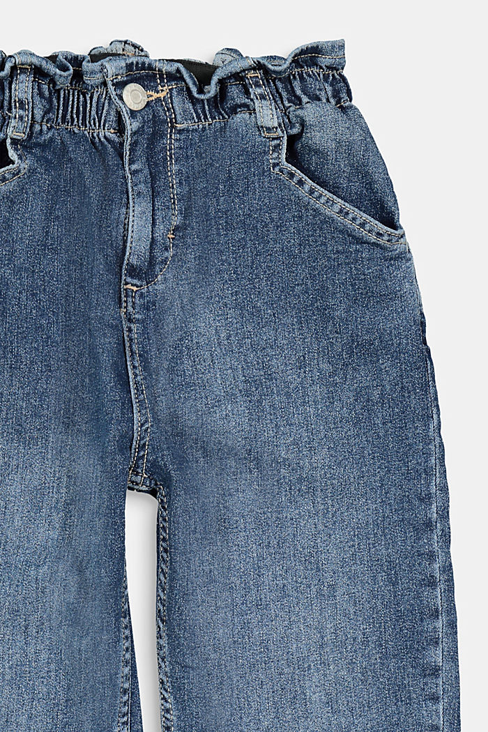 Jeans with an elasticated paperbag waistband, BLUE DARK WASHED, detail image number 2