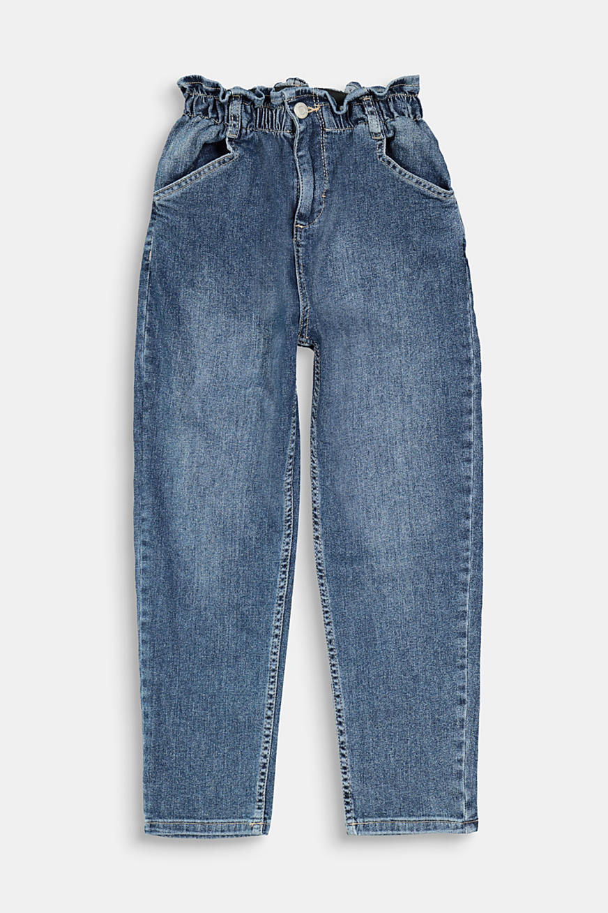 Jeans with an elasticated paperbag waistband