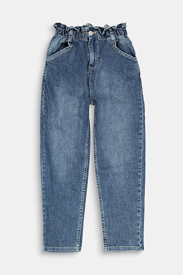 Jeans with an elasticated paperbag waistband, BLUE DARK WASHED, detail image number 0