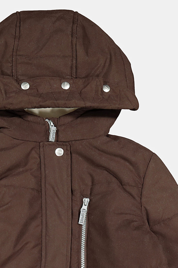 Quilted coat with hood and fleece lining, BARK, detail image number 2
