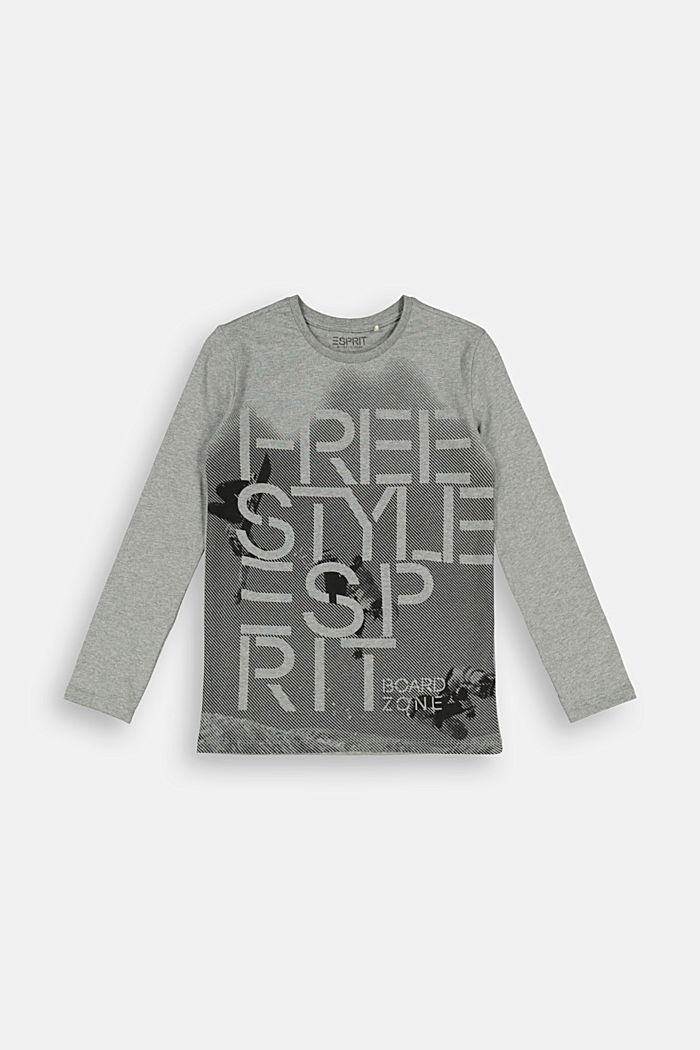 Printed long sleeve top in organic cotton