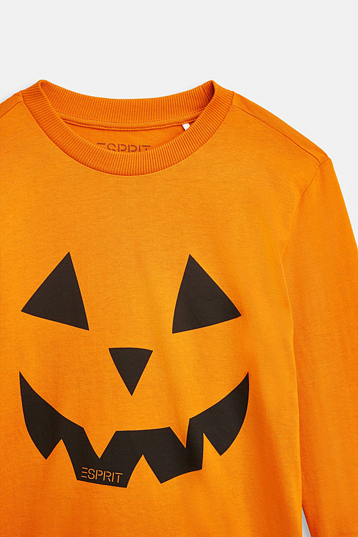 Long sleeve top with a Halloween print, RUST ORANGE, detail image number 2
