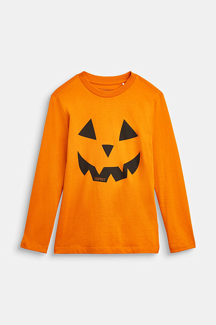 Long sleeve top with a Halloween print, RUST ORANGE, detail image number 0