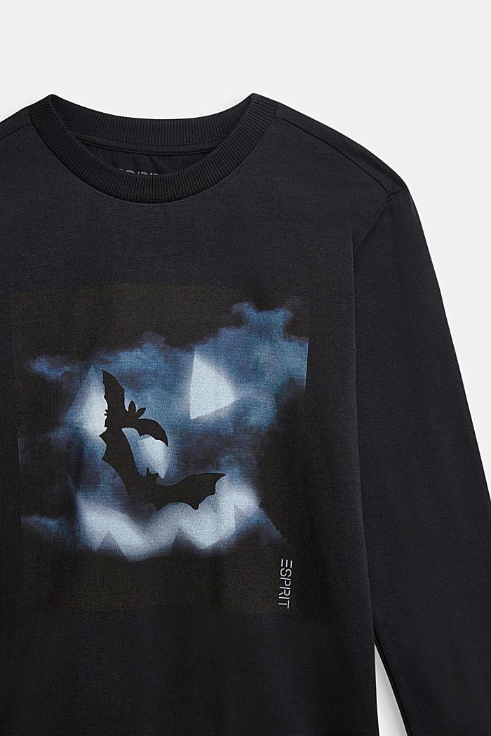 Longsleeve met vleermuisprint, BLACK, detail image number 2