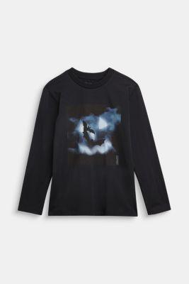 Long sleeve top with a bat print, BLACK, detail