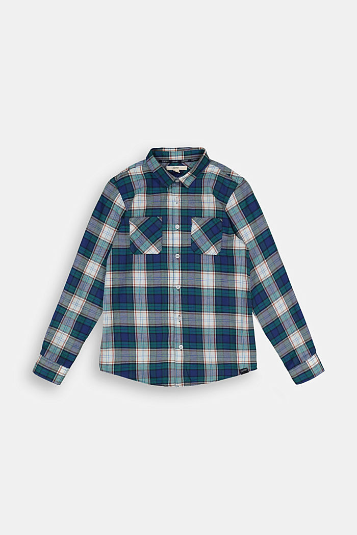 Check shirt in 100% cotton, FOREST, overview