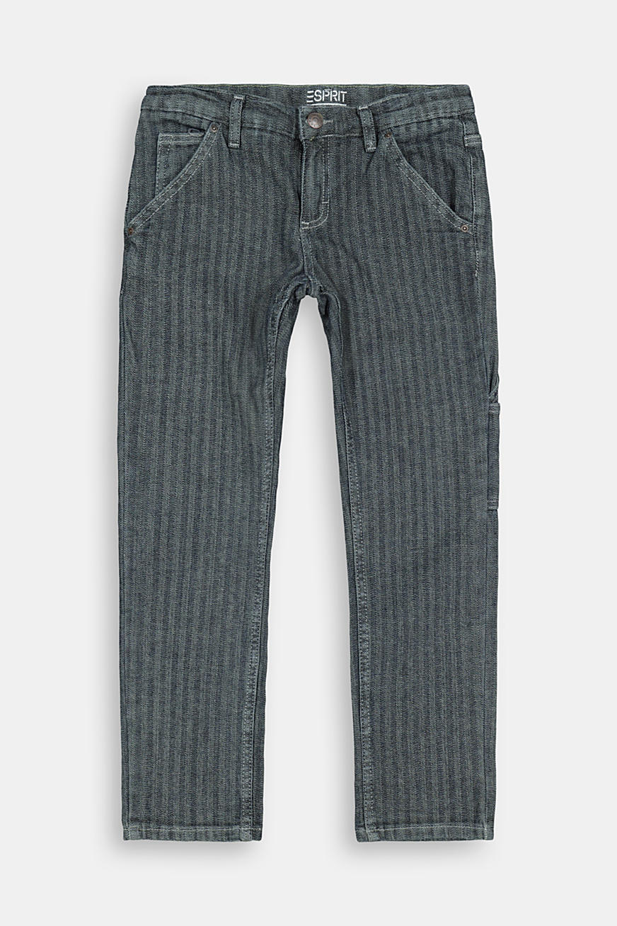 Striped cotton trousers with an adjustable waistband