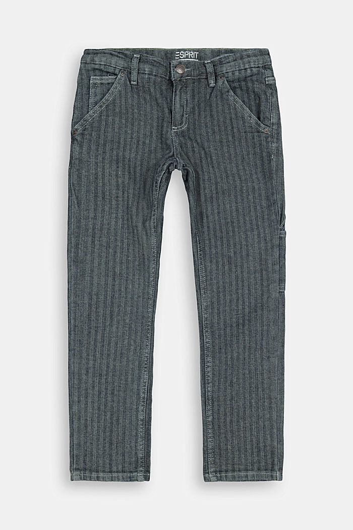 Striped cotton trousers with an adjustable waistband, BLUE RINSE, detail image number 0