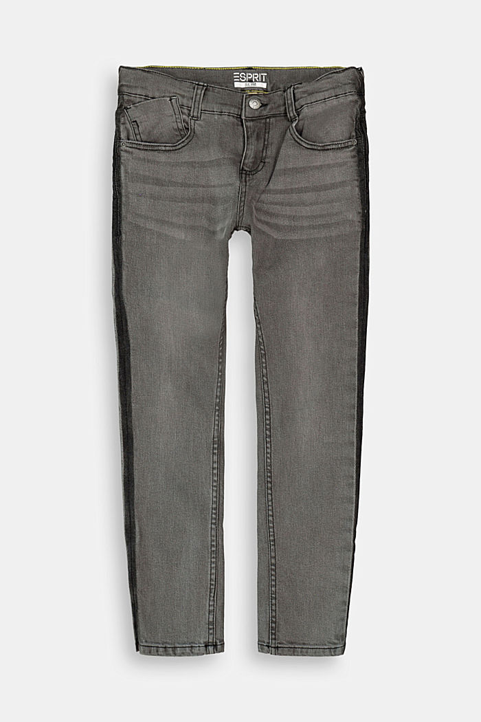 Stretch jeans with stripes and an adjustable waist, BLACK MEDIUM W, detail image number 0