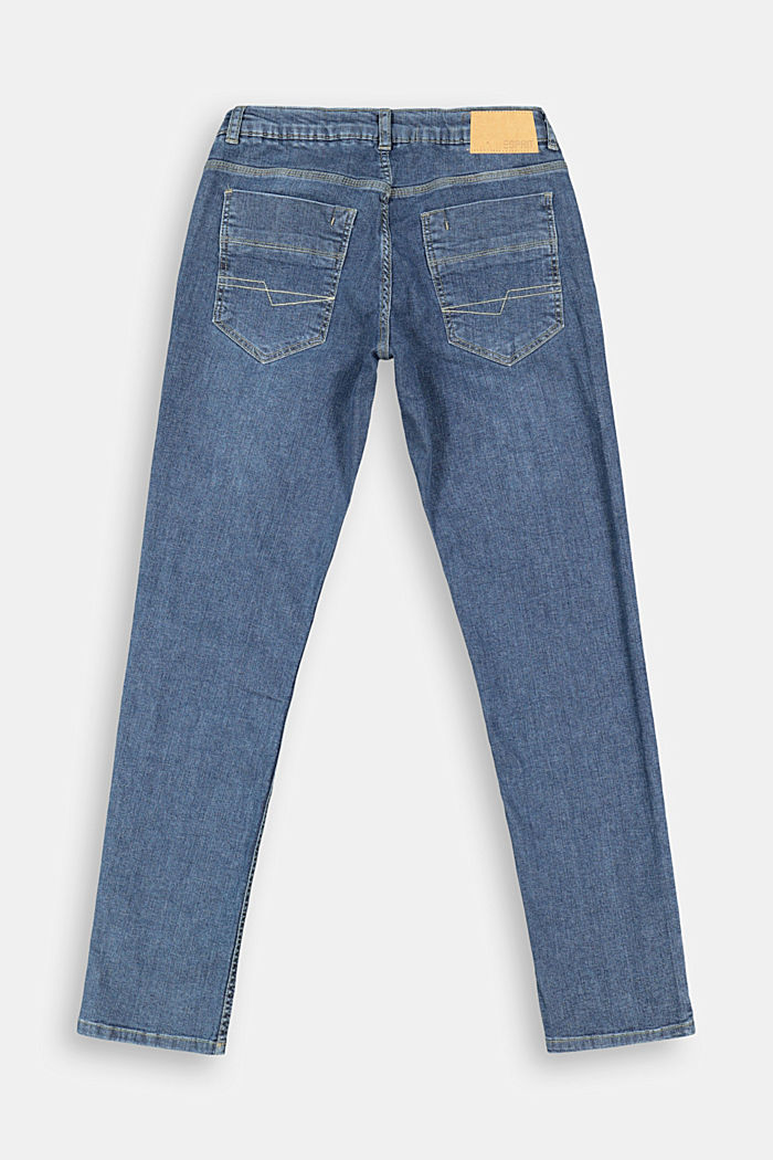 Washed stretch jeans with an adjustable waistband, BLUE DARK WASHED, detail image number 1