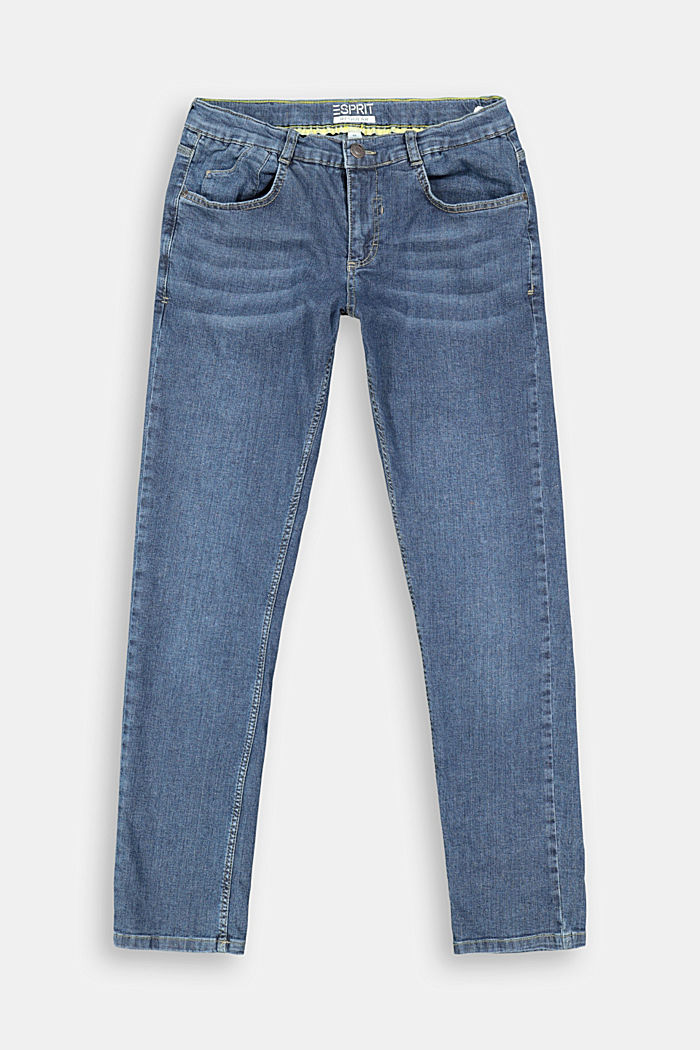 Washed stretch jeans with an adjustable waistband, BLUE DARK WASHED, overview