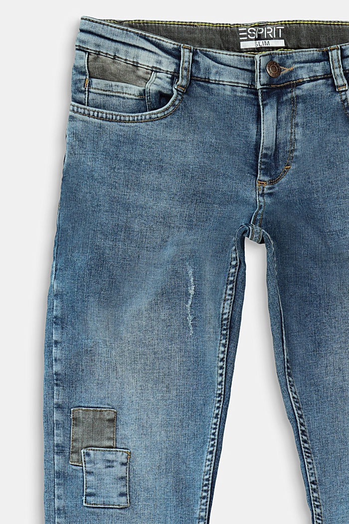 Jeans in a vintage look with appliqués, BLUE MEDIUM WASHED, detail image number 2