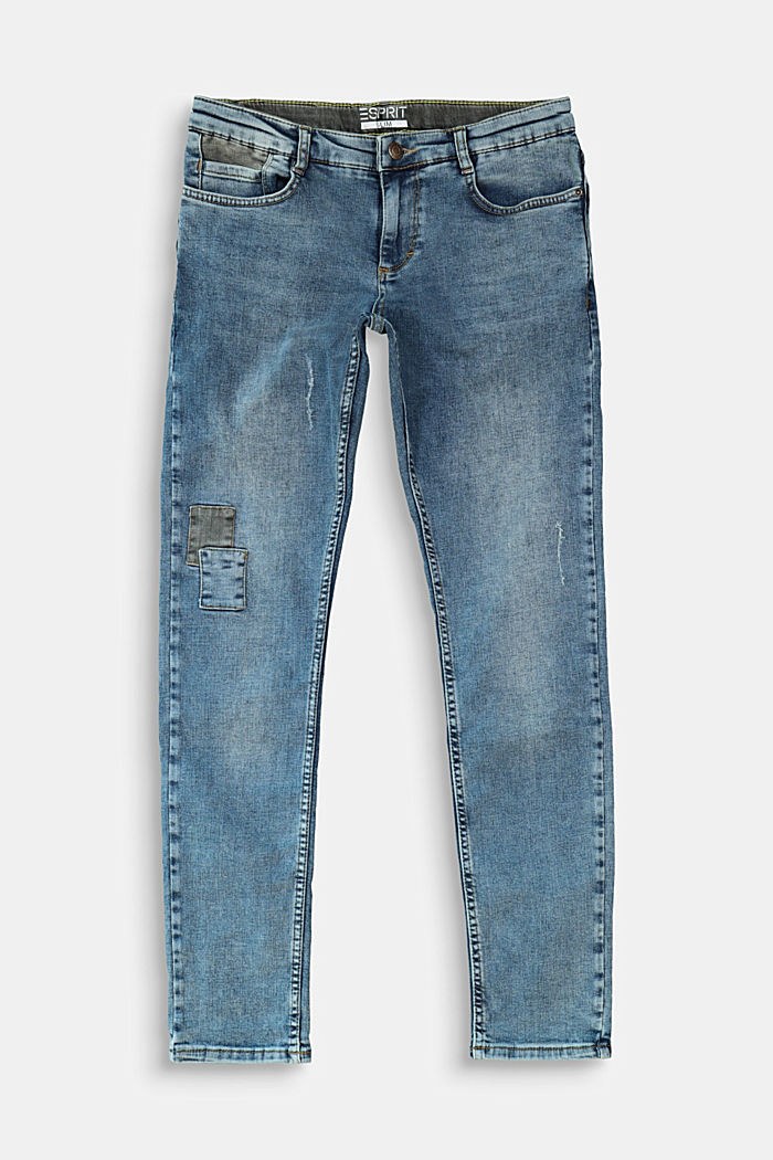 Jeans in a vintage look with appliqués, BLUE MEDIUM WASHED, detail image number 0