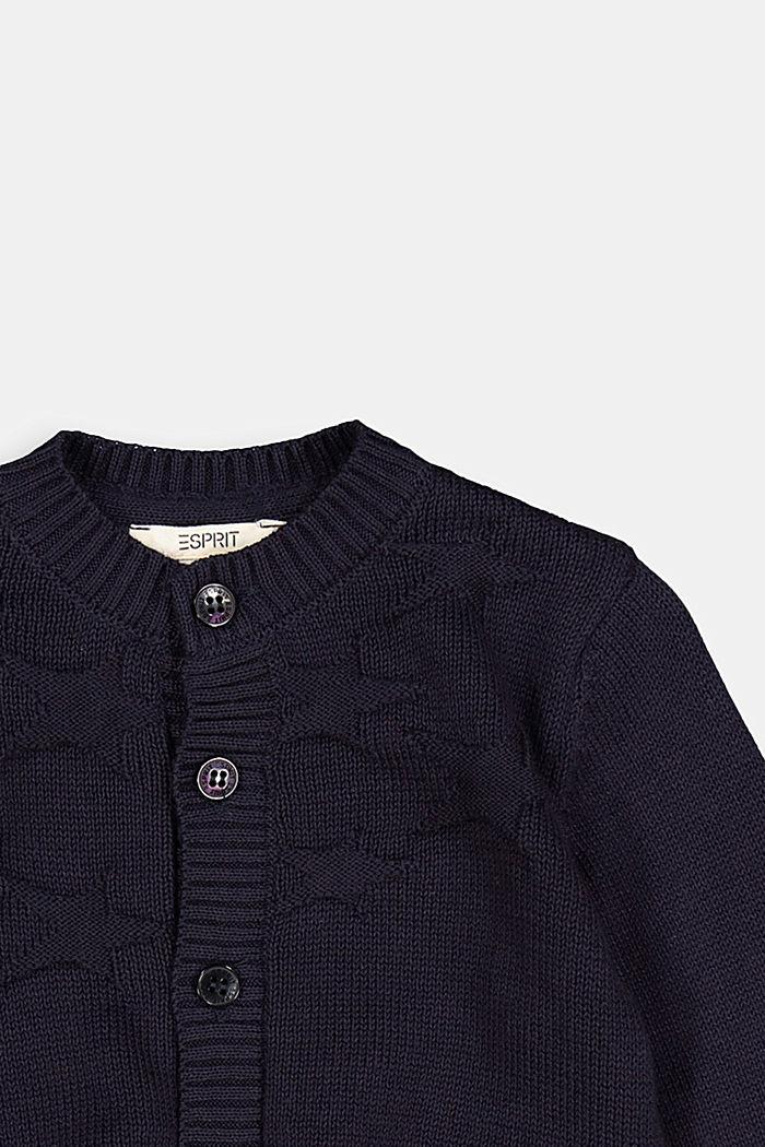 Cardigan jacquard, 100% coton biologique, NAVY, detail image number 2