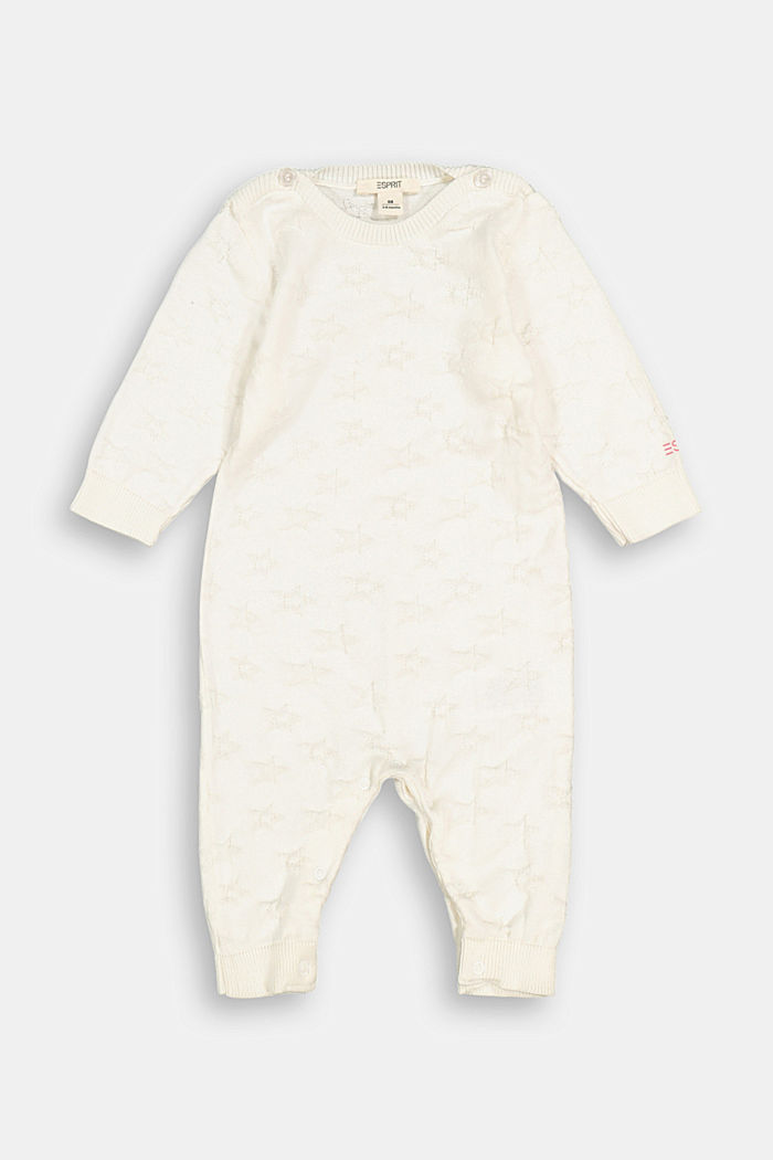 Jacquard knit bodysuit, 100% organic cotton