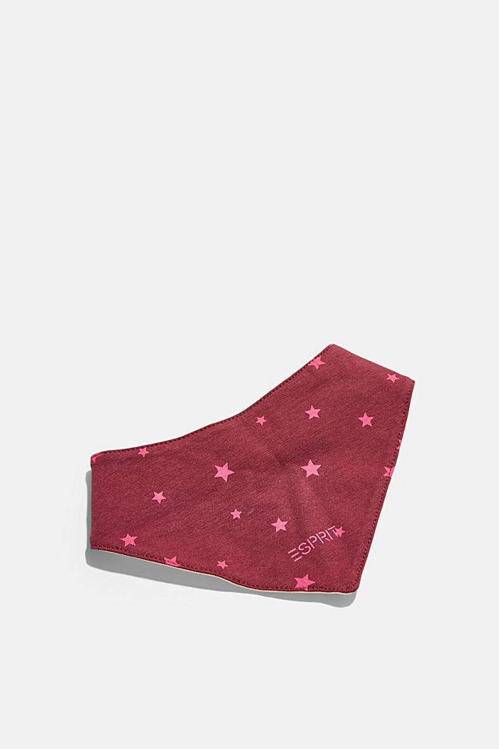 Scarf with a star print, PLUM RED, detail image number 1