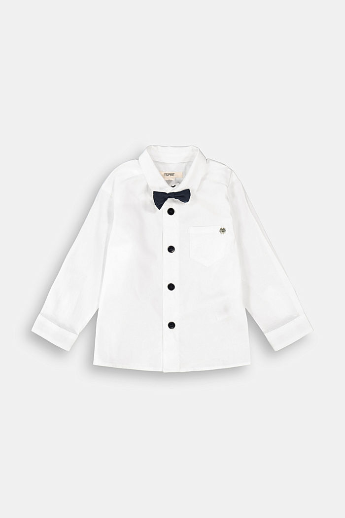 Shirt with a detachable bow tie, WHITE, overview