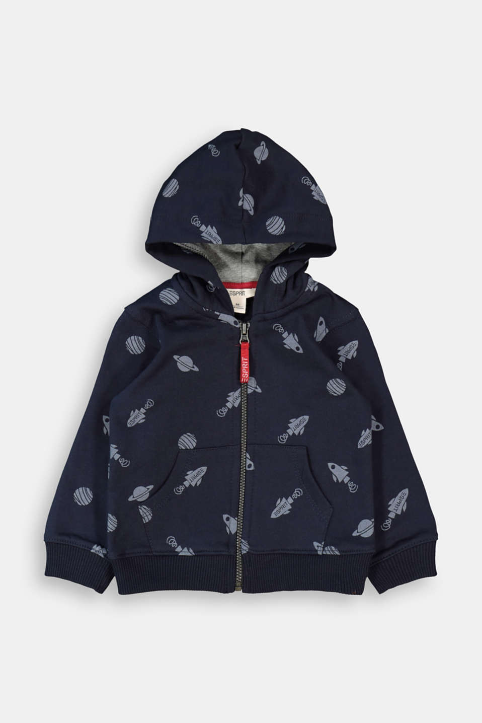 Esprit - Zip-up hoodie with print, 100% organic cotton