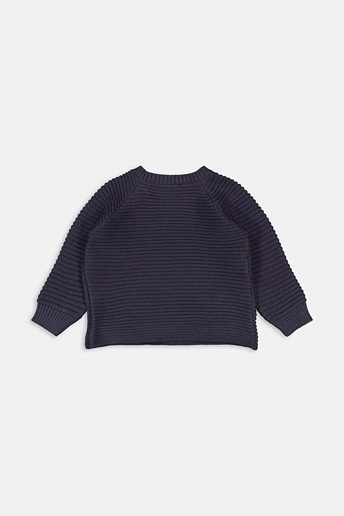 Ribbed jumper with a button placket, 100% organic cotton