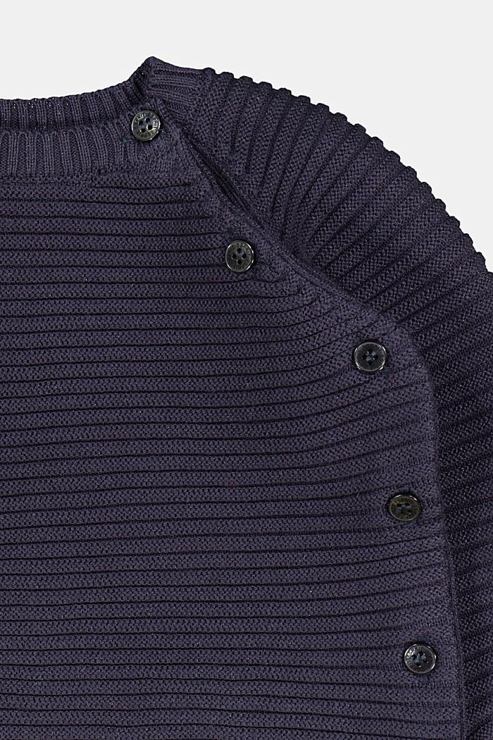 Ripp-Pullover mit Knopfleiste, 100% Bio-Baumwolle, NAVY, detail image number 2