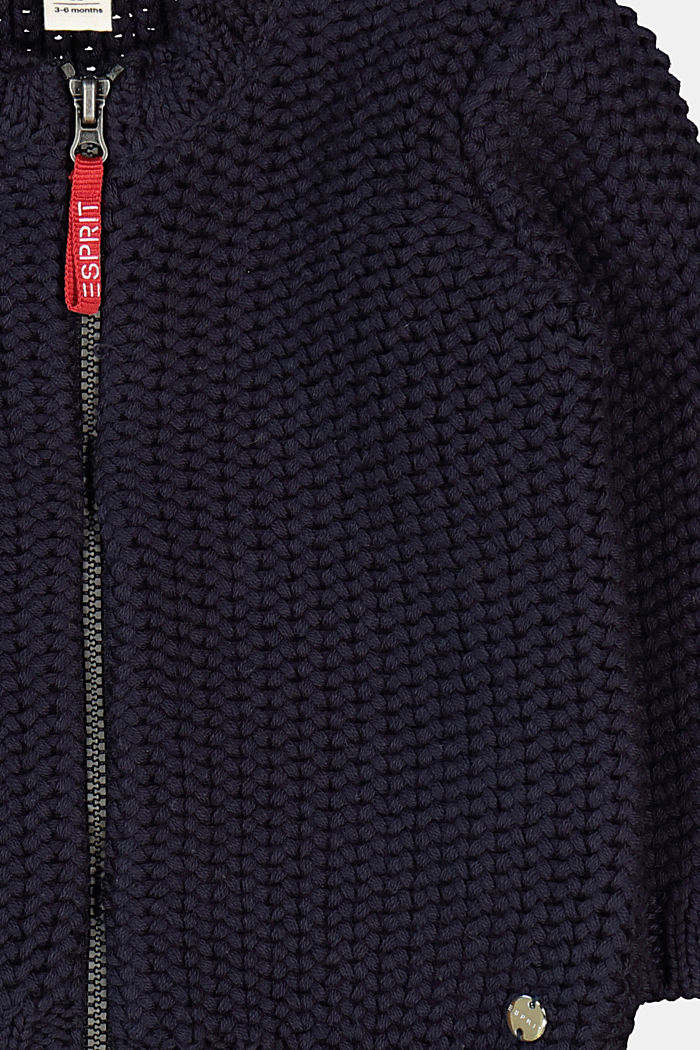 Knitted cardigan made of 100% organic cotton, NAVY, detail image number 2
