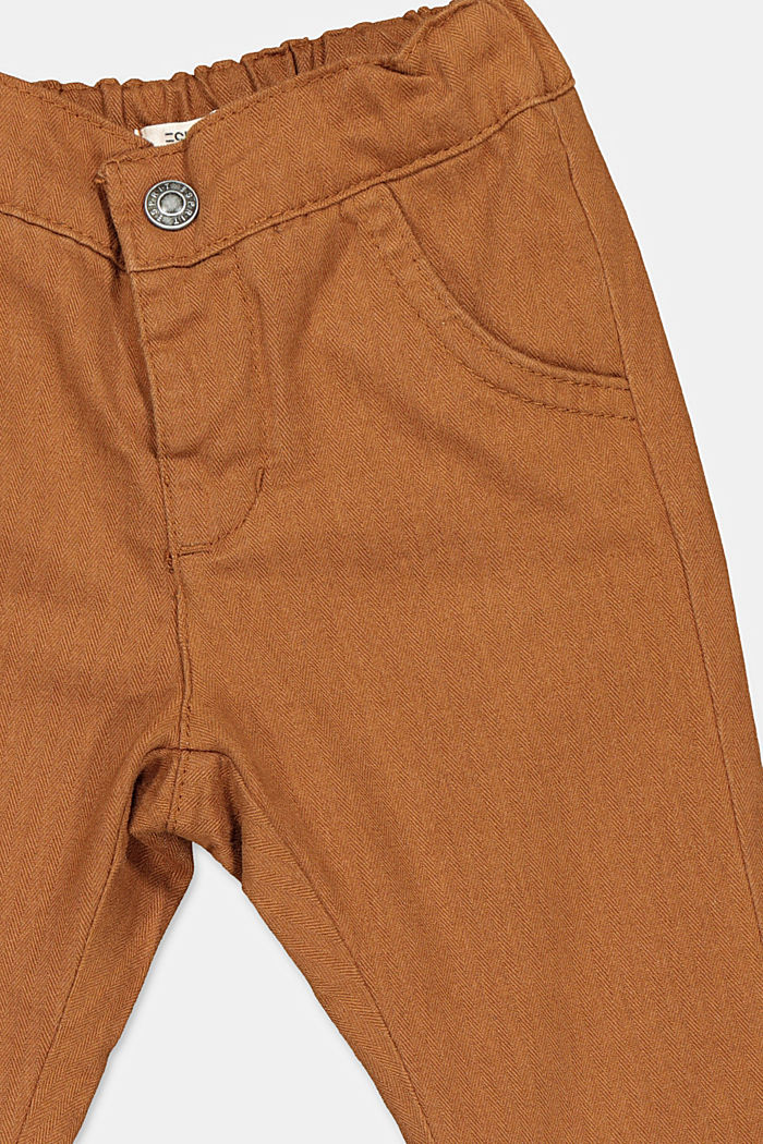 Herringbone trousers made of 100% cotton, TOFFEE, detail image number 2