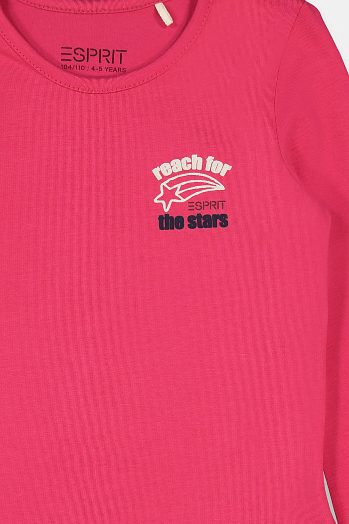Stretch cotton long sleeve top with a print, DARK PINK, detail image number 2