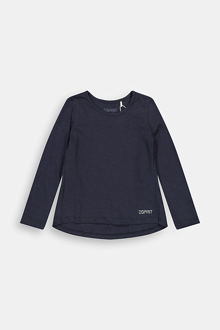 Long sleeve top made of 100% cotton, NAVY, detail image number 0