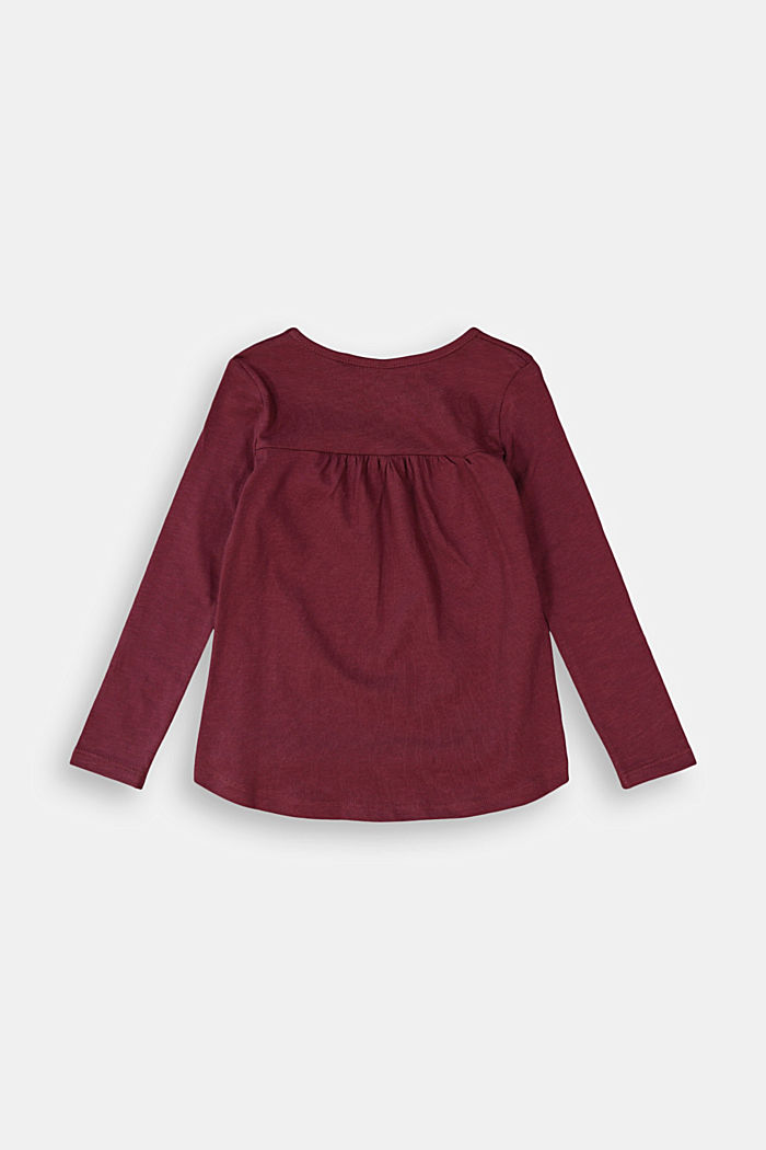 Long sleeve top made of 100% cotton, PLUM RED, detail image number 1