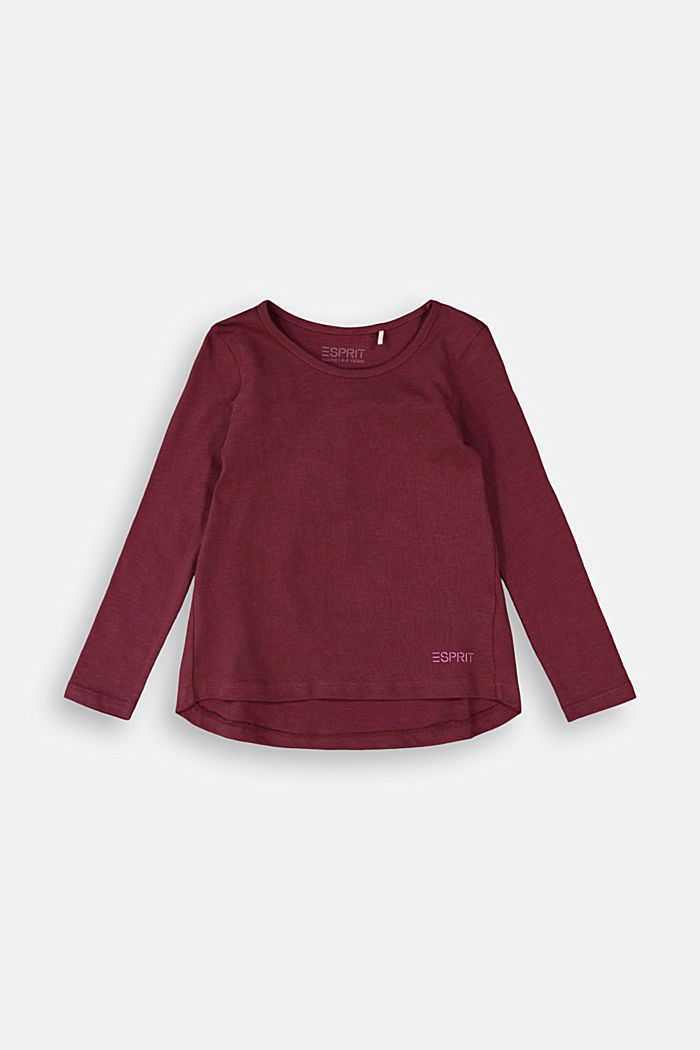 Long sleeve top made of 100% cotton, PLUM RED, detail image number 0