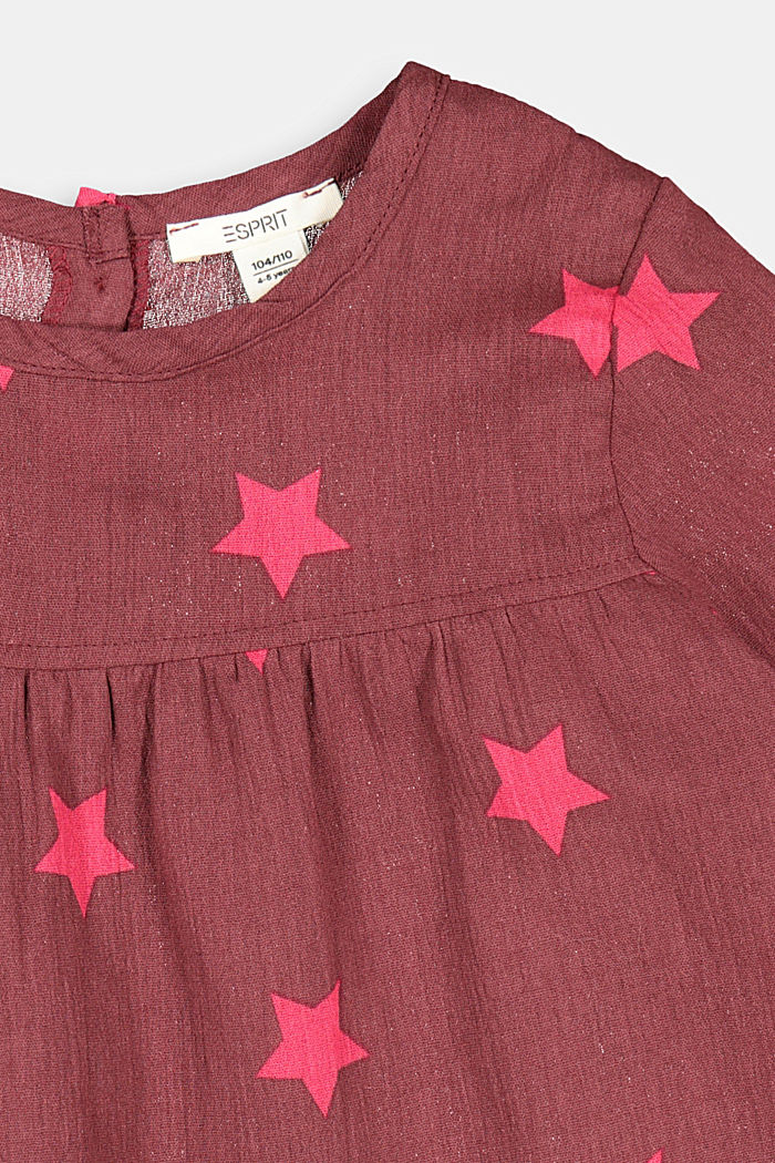 Printed crinkle blouse, 100% cotton, PLUM RED, detail image number 2