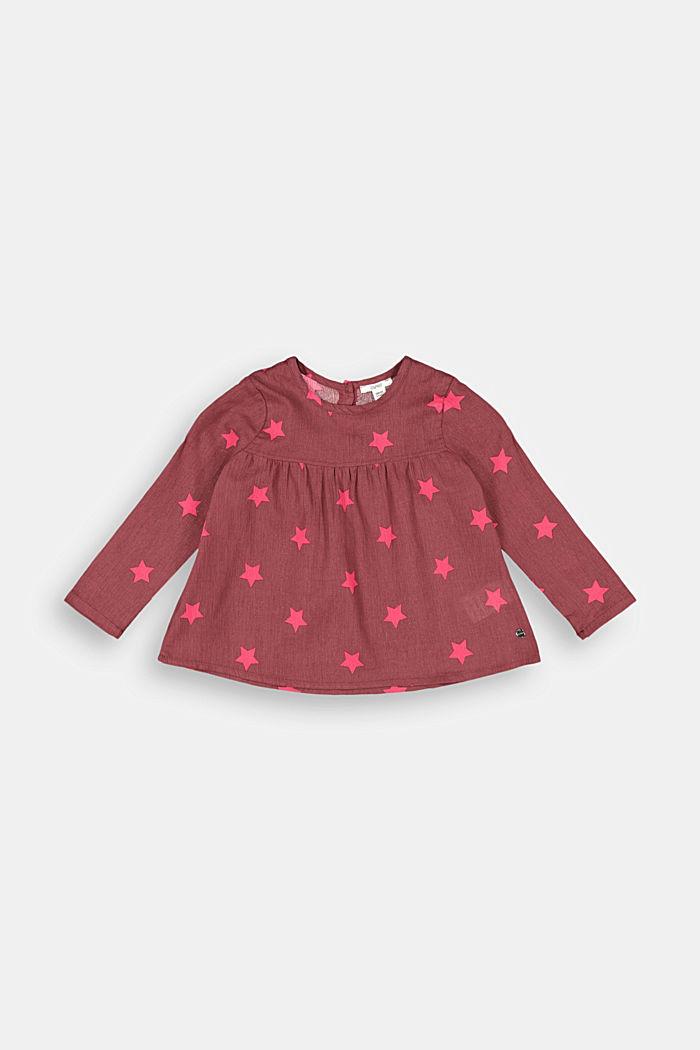 Crinkle-Bluse mit Print, 100% Baumwolle