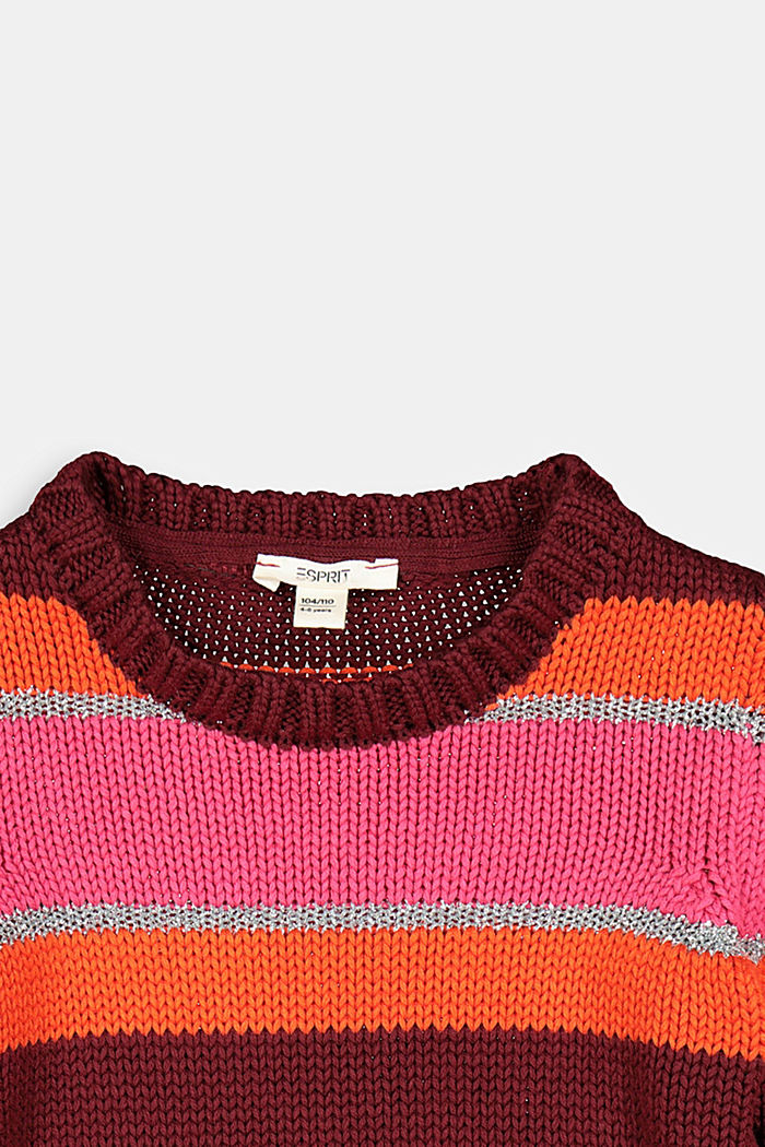 Gestreifter Pullover mit Metallic-Effekt, DARK PINK, detail image number 2
