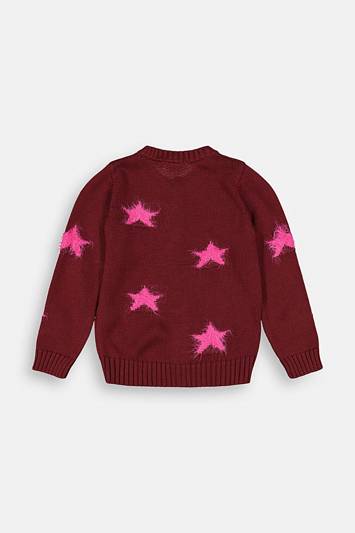 Cardigan with fluffy intarsia stars, PLUM RED, detail image number 1