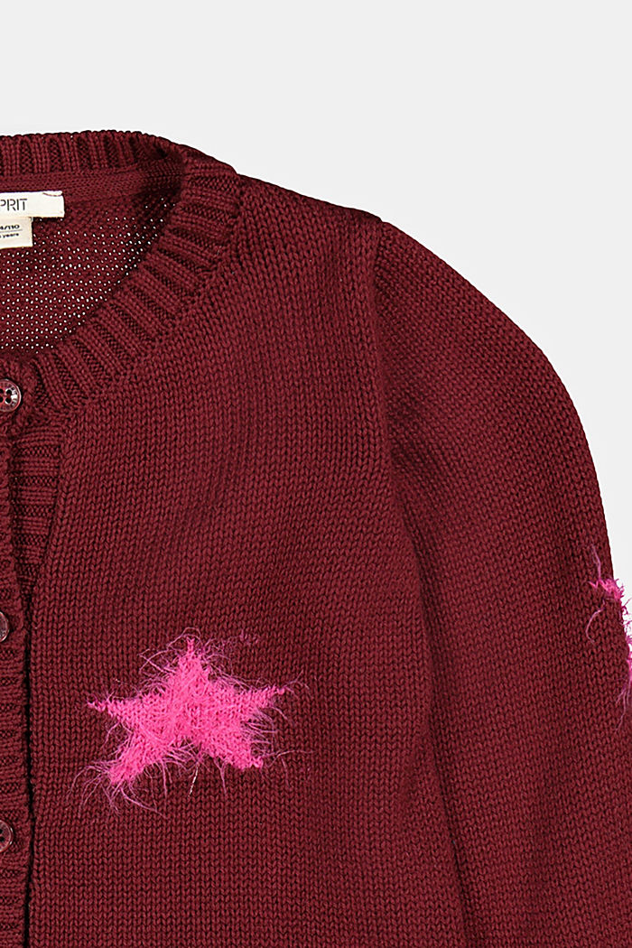 Cardigan with fluffy intarsia stars, PLUM RED, detail image number 2
