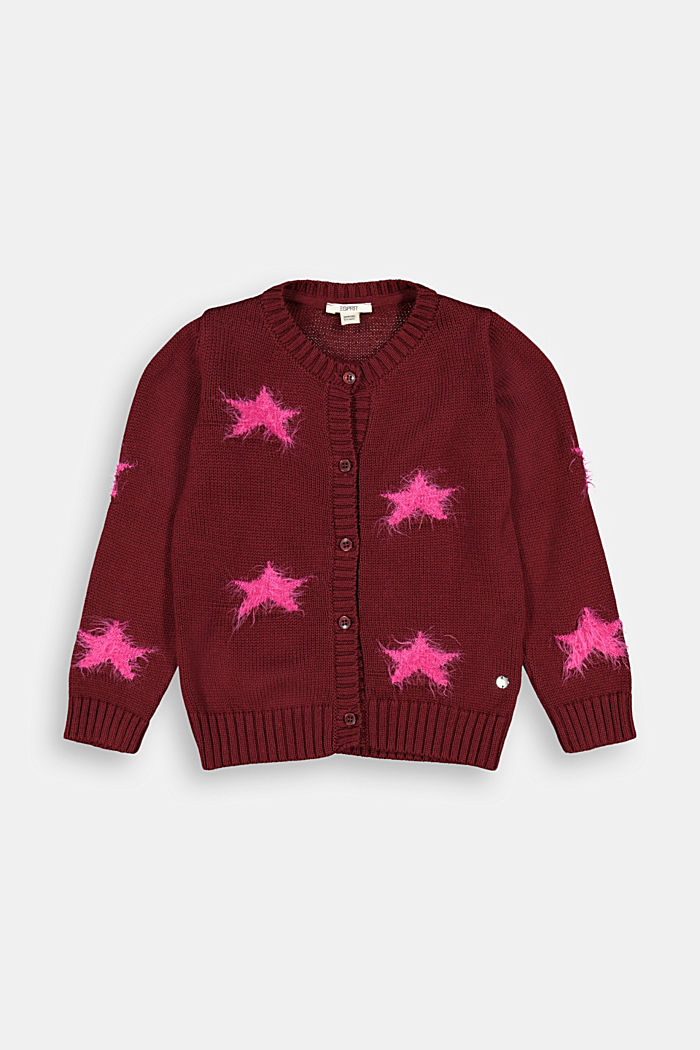 Cardigan with fluffy intarsia stars, PLUM RED, detail image number 0