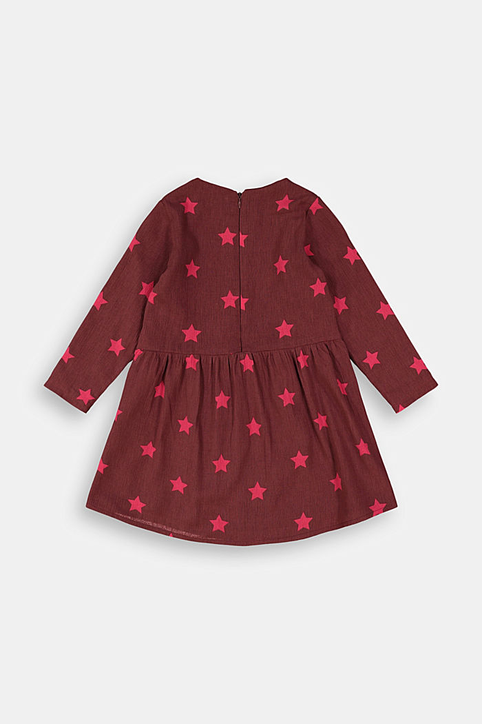 Cotton dress with a print, PLUM RED, detail image number 1