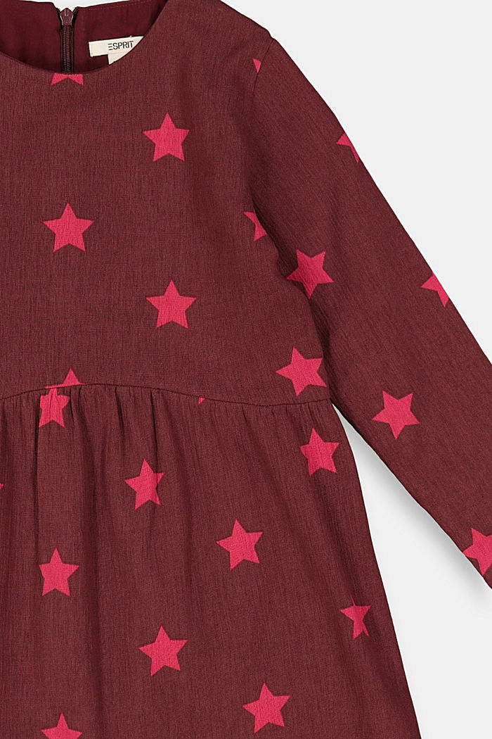 Cotton dress with a print, PLUM RED, detail image number 2