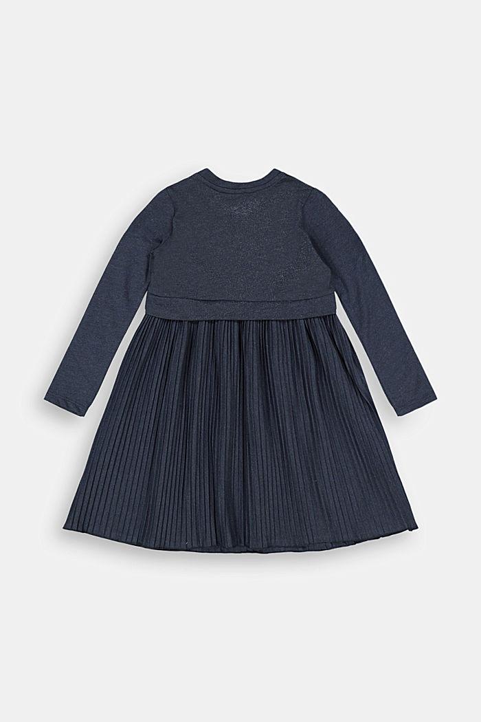 Jersey-Kleid mit Plissee-Rock, NAVY, detail image number 1