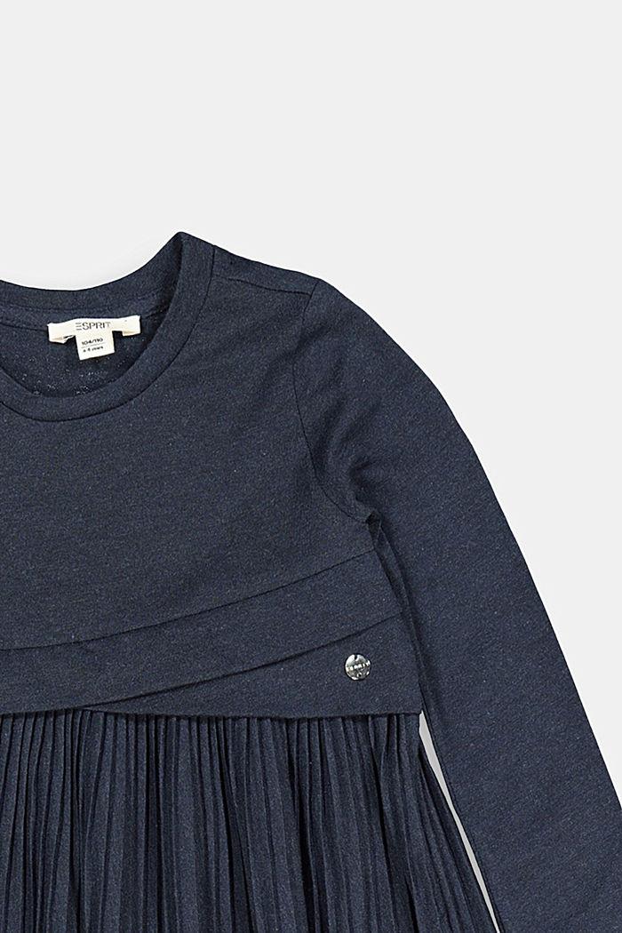 Jersey-Kleid mit Plissee-Rock, NAVY, detail image number 2