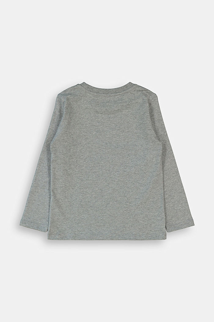 Printed long sleeve top in 100% cotton, DARK GREY, detail image number 1