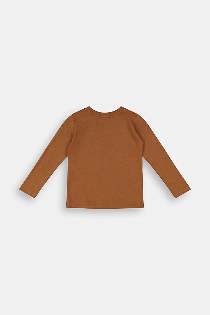 Printed long sleeve top in 100% cotton, TOFFEE, detail image number 1