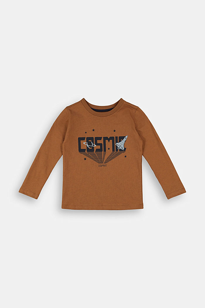 Printed long sleeve top in 100% cotton, TOFFEE, detail image number 0